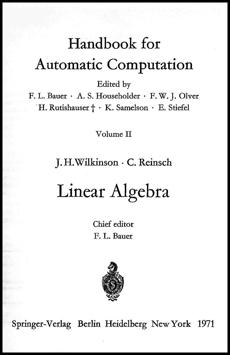 Wilkinson and Reinsch Handbook on Linear Algebra