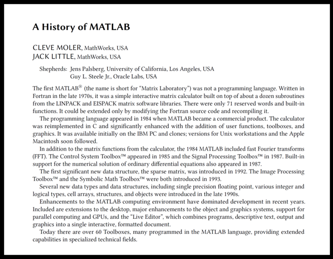 History of MATLAB Published by the ACM