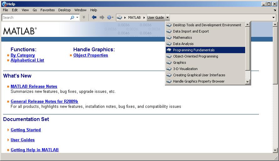 R2009b Help Browser Breadcrumb Navigation