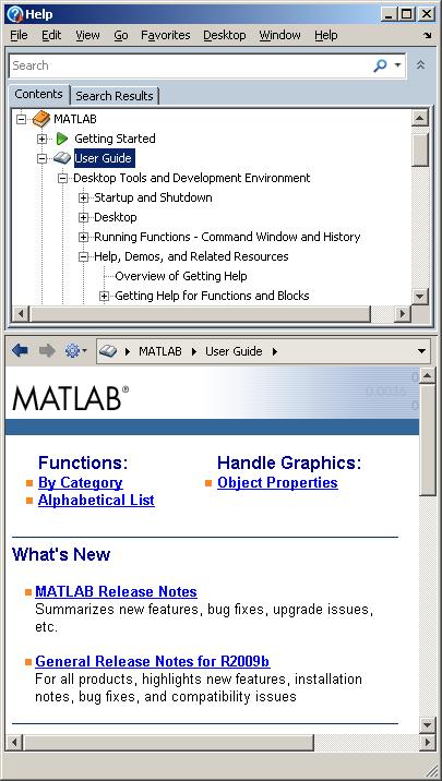 R2009b Help Browser Narrow Layout