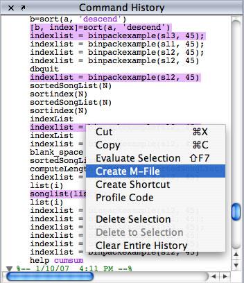 History Create M file