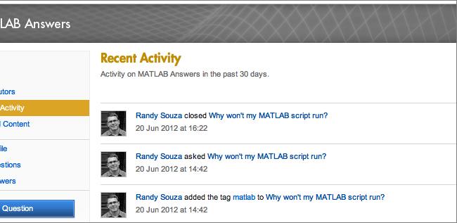 MATLAB Answers - Activity