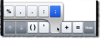 MATLAB Mobile semicolon extra key