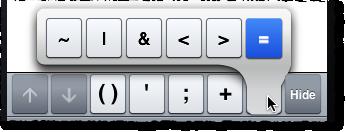 MATLAB Mobile equals extra key
