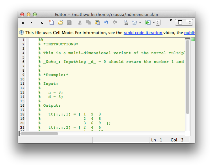 An example of MATLAB Markup in the MATLAB editor