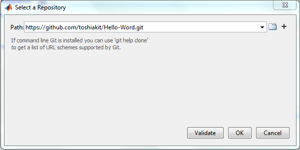 validateRepo MATLAB and Git