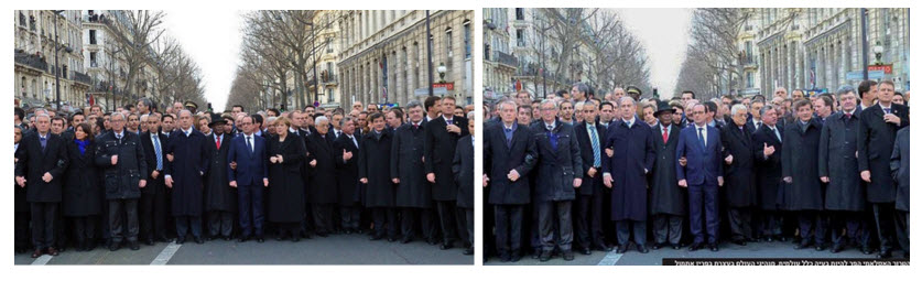 The Charlie Hebdo march in Paris featuring state leaders from all over the world. An orthodox paper edited out the female leaders from the original image before publication. Image credit: Cecilia Pasquini, Carlo Brunetta, Andrea F. Vinci, Valentina Conotter, and Giulia Boato from University of Trento.