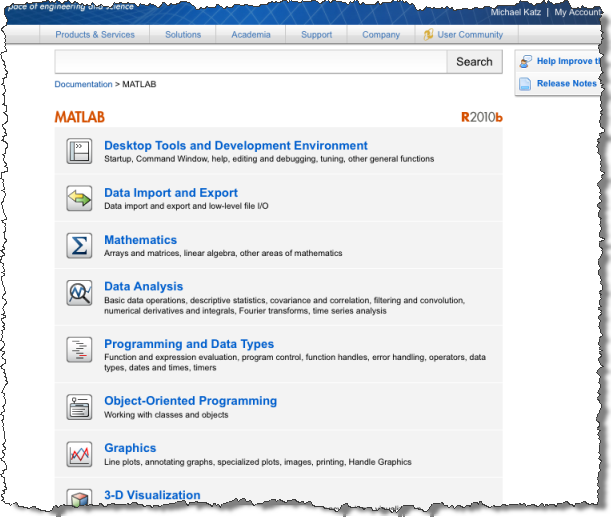 New MATLAB Documentation Center