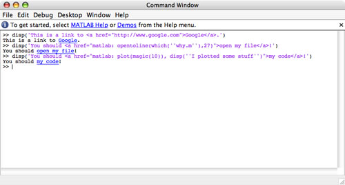 Printing Hyperlinks To The Command Window 187 Matlab Community