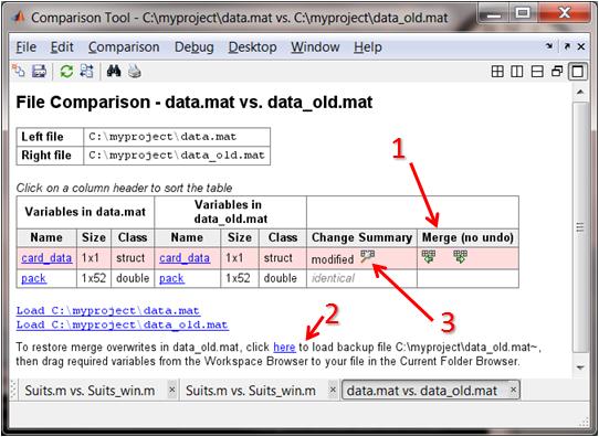 Comparison of backup MAT file