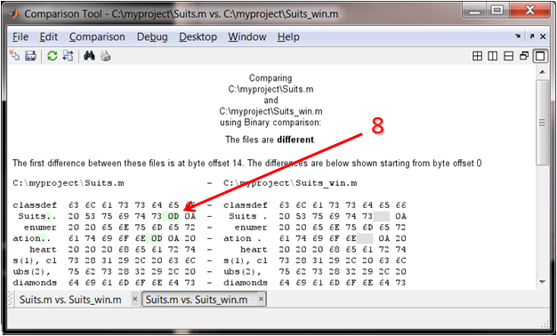 Comparison of binary files
