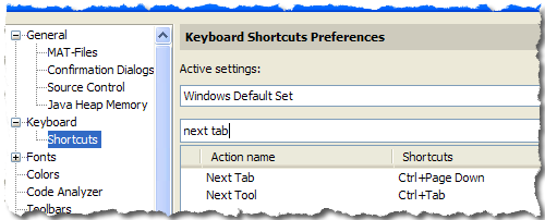 Customize Keyboard Shortcuts for Next Tab
