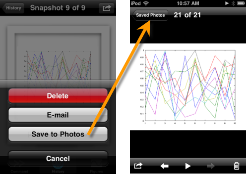 Save to Photos from MATLAB Mobile