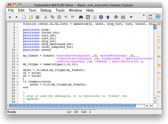the Embedded MATLAB Editor