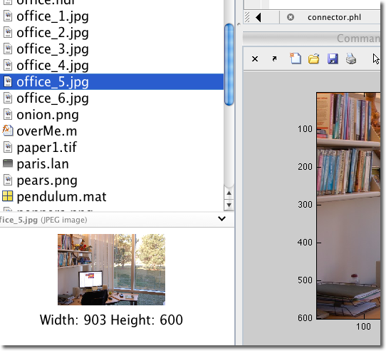 MATLAB's Image Preview feature in the Current Folder Browser
