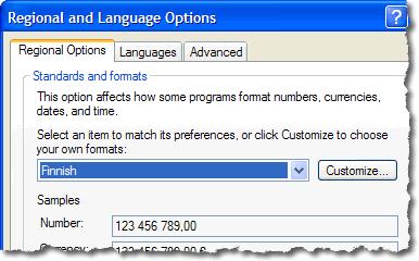 Windows XP Finnish language settings