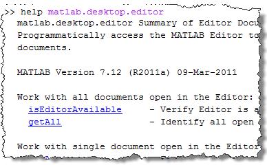 help matlab.desktop.editor