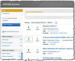 New MATLAB Answers screen