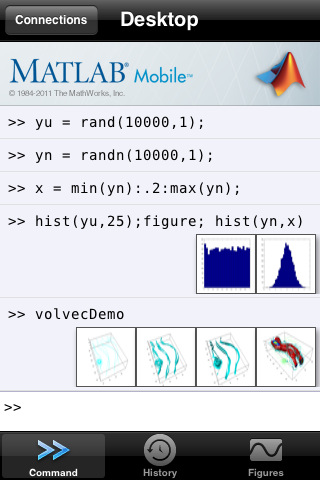 MATLAB Mobile 1.3 Command Window
