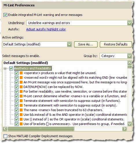 R2008b M-Lint preferences panel