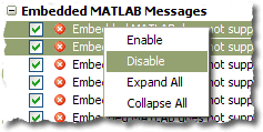 R2009a M-Lint messages table context menu