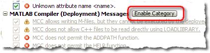 R2008b show deployment messages enable button