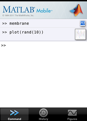 MATLAB Mobile Command Window with a snapshot and a live preview