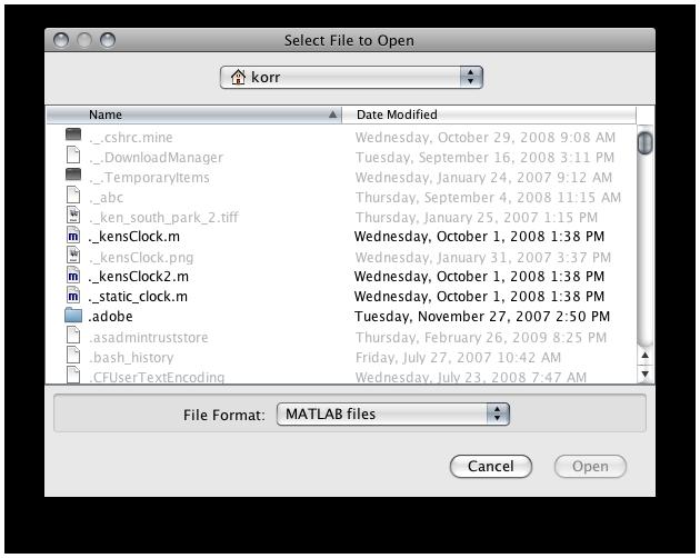 uigefile dialog on Macintosh