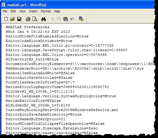 A matlab.prf file