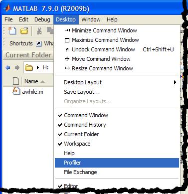 Open the MATLAB Profiler with Destkop - Profile