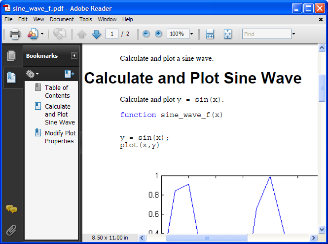 Published PDF of sine wave demo