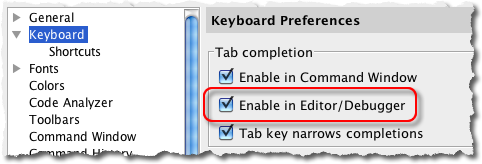Tab Completion Preference