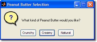 questdlg for peanut butters