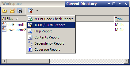 TODO/FIXME report in Directory Reports drop-down
