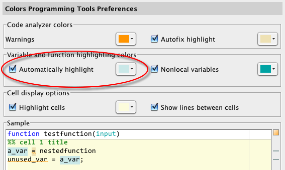 Variable highlighting preferences
