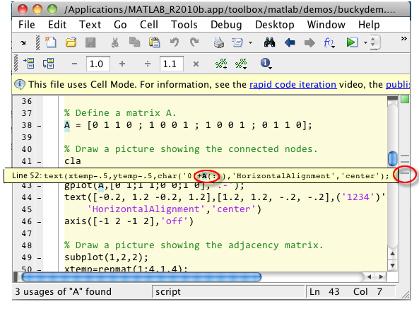 how to show variables in function of matlab