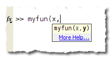 MATLAB function hints for a custom function