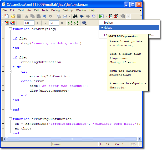 Using Run Configurations for Debugging » MATLAB Community