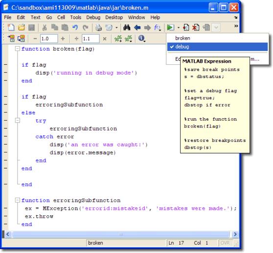 broken.m with debug and regular run configurations
