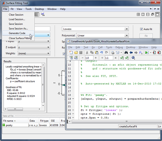 Automatic MATLAB code generation from Surface Fitting Tool