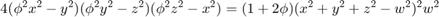 $$4(\phi^2 x^2 - y^2)(\phi^2 y^2 - x^2)(\phi^2 z^2 - x^2) = (1+2 \phi)(x^2 + y^2 + z^2 - w^2)^2 w^2$$