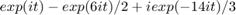 $$exp(i t) - exp(t i t)/2 + i exp(-14 i t)/3$$