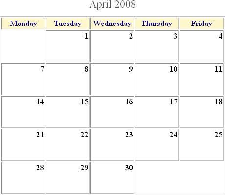 Calendar Template Site