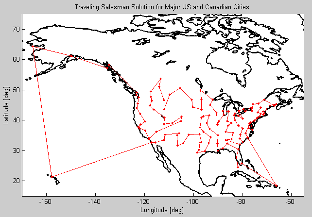 Traveling Salesman Solution for Major US and Canadian Cities