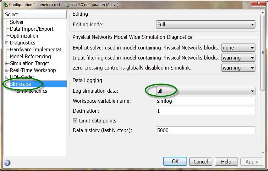 Rectifier Configuration Parameters