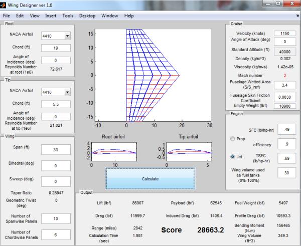 Wing Designer UI screenshot