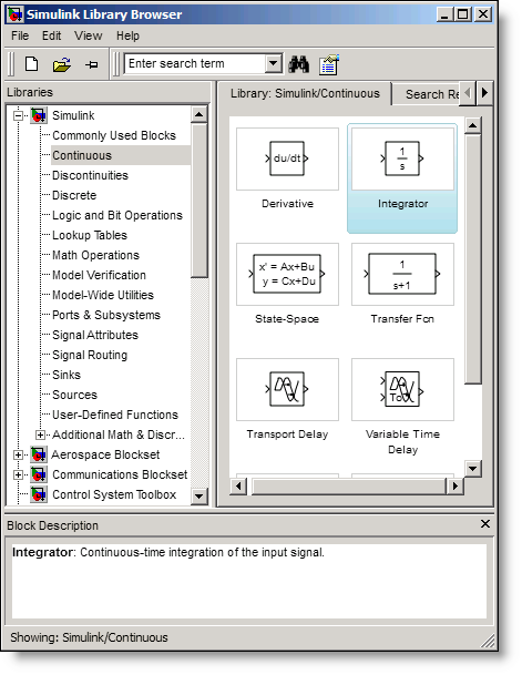 Simulink R2008a all-platform Library Browser