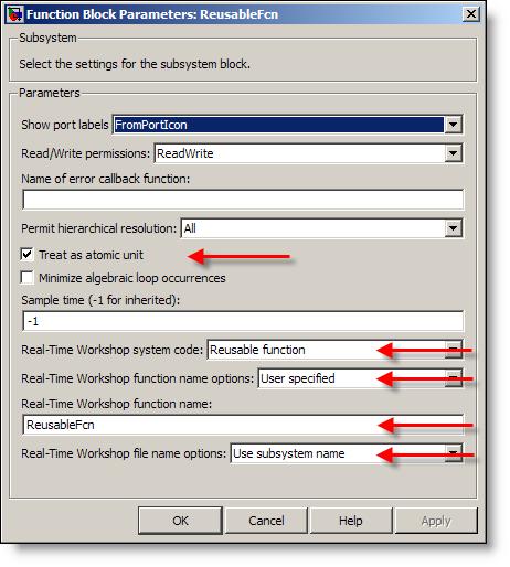 ReusableFcn subsystem parameters