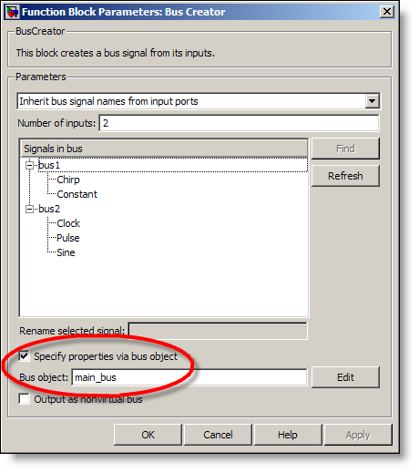 Bus Creator dialog with a bus object