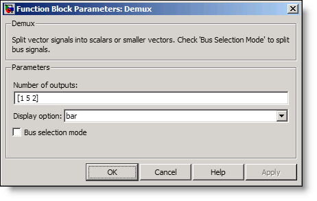 Demux block dialog with a vector of widths